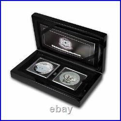2021 Somalia 2-Coin 1 oz Silver Elephant Black & White Set SKU#224343