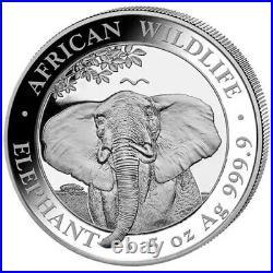 2021 Somalia 5 oz Silver. 9999 Fine Elephant 500 Shillings Coin BU+ Proof Like