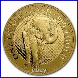 2021 St. Helena 1 oz Gold India Wildlife Elephant (COA #1, Box) SKU#231398