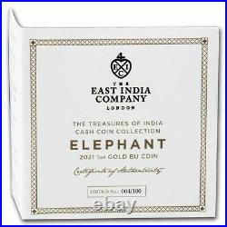 2021 St. Helena 1 oz Gold India Wildlife Elephant (COA #4, Box) SKU#231401
