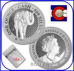 2021 St. Helena The Elephant 1 oz Silver £1 India Wildlife roll/tube 18 coins