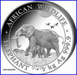 2022 1 Kilo Silver Somalian AFRICAN ELEPHANT BU Coin 50 Pieces Minted