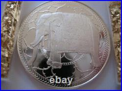 26 Grams. 925 Silver Rare Franklin Mint Proof Indian Elephant Good Luck Coin+gold