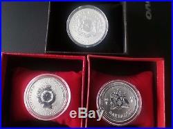 3x 1 oz silver coins, Cook island, Barbados, Africa elephant