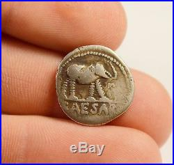 48-49 BC ROME JULIUS CAESAR SILVER DENARIUS ELEPHANT COIN