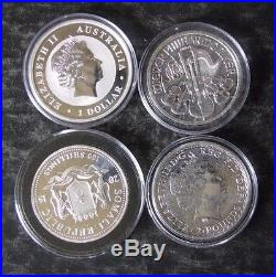(4) 999 Fine World Silver 1 Oz Coins Kookaburra, Britain, Austria, Elephant -NR