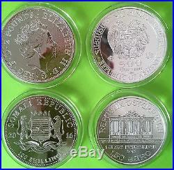 4 World Silver Coins 4 Troy Oz Elephant, Noah's Ark, Britannia, Philharmonic