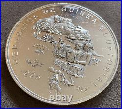 5oz Rublica De Guinea Ecuatorial Silver Coin Rare Investment Elephant