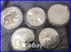 5x 1oz Troy Mixed Date Fine Silver Coin Koala, Panda, cougar, Elephant, Goat