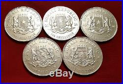 5x Somalia 1 oz 2014 Elephant Pure. 999 Silver Coin
