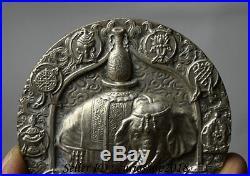 8CM Chinese Miao Silver 8 Auspicious Symbol Elephant Mammon God Coin Tangka