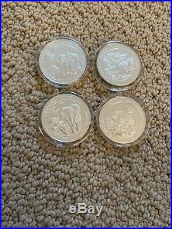 AFRICAN WILDLIFE Somalia Elephant Lot Of 4 Troy Oz. 999 Silver Coins 2011 2012