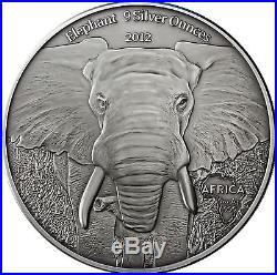 Africa Serie 2012 Gabon 10.000 Francs Elephants 9 Silver Ounces antique finish