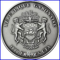Africa Serie 2012 Gabon 1.000 Francs Elephant Silver Ounces antique finish