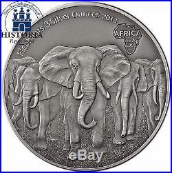 Africa Serie 2013 Ghana 20 Cedis Elephants Herd 3 Silver Ounce Antique Finish
