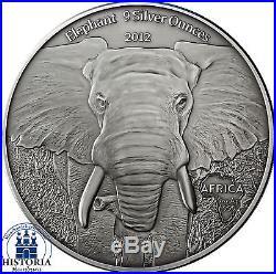 Africa Series 2012 Gabon 10000 Francs Baby Elephants 9 Silver Ounces