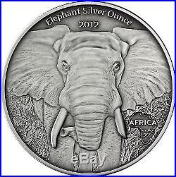 Africa Series 2012 Gabun 1000 Francs Elephant Silver Ounce antique finish