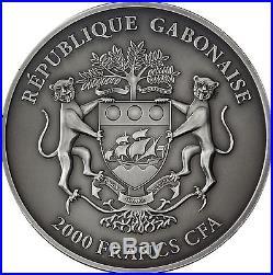 Africa Series 2013 Gabon 2000 Francs Baby Elephants 3 Silver Ounces