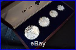 African Wildlife 2003 Elephant Proof Silver Set 2 oz 1/4 oz RARE