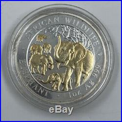 African Wildlife Elephant 2008 Somalia 100 Shillings 1oz Silver Coin