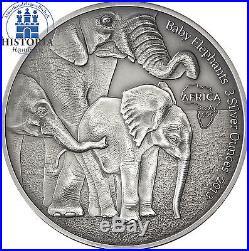Afrika Serie Gabun 2000 Francs 2013 African Baby Elephants 3 Silver Ounce