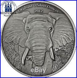 Afrika Serie Gabun 2000 Francs Silber 2012 Elefant Elephant 3 Silver Ounces