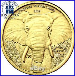 Afrika Serie Gabun 5000 Francs 2012 African Elephant 1/8 Gold Ounce im Etui