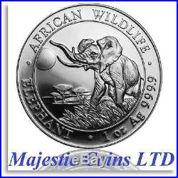 Air-Tite 2016 Somalia African Wildlife Elephant 5 x 1 Oz. 9999 Silver Coins