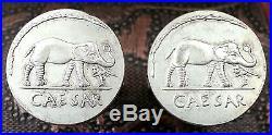 Ancient Roman Ruler Julius Caesar Silver Tone Denarius Elephant Coin Cufflinks