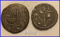 Ancient Silver Roman Coin Julius Caesar 55BC Pontificus Maximus Elephant Serpent