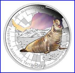 Elephant Seal 2015 1oz Silver Proof Coin Australia Antarctic Territory Series