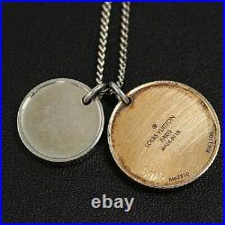 Auth Louis Vuitton Necklace Chapman Brothers Elephant Coin L60cm Silver Metal