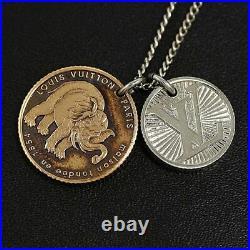 Auth Louis Vuitton Necklace Elephant Coin Pendant Chapman Brothers L60cm Silver