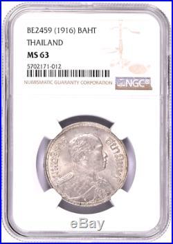 BE2459 / 1916 Thailand Silver Coin 1 Baht Rama VI Elephant NGC MS63