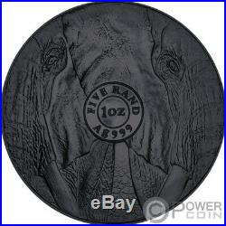 BURNING ELEPHANT Ruthenium Big Five 1 Oz Silver Coin 5 Rand South Africa 2019