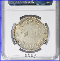 Belgian Congo 1944 50 Francs NGC AU Details Silver Coin Elephant