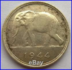 Belgian Congo 1944 Elephant 50 Francs Silver Coin