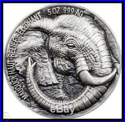 Big 5 (ivory Coast) 2017 Elephant 5 Ounce Silver Coin