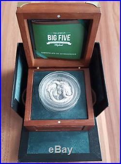 Big Five 5 Oz Elephant 5000 Francs Ivory Coast 2017 Silver Coin + Box