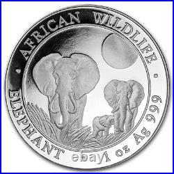 Bullion coin 100 Shillings Somalie 2014 1 once argent pur 999,9 Eléphant