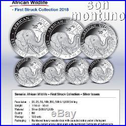 COA #2 AFRICAN WILDLIFE First Strike SILVER Coin Set 2018 Somalia Elephant