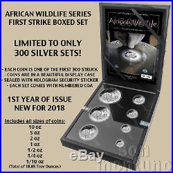 COA #7 AFRICAN WILDLIFE First Strike SILVER Coin Set 2018 Somalia Elephant