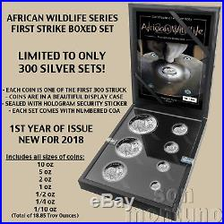 COA #9 AFRICAN WILDLIFE First Strike SILVER Coin Set 2018 Somalia Elephant