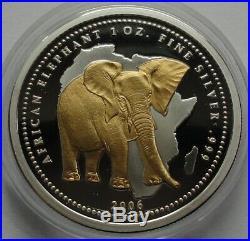 CONGO 2006 10 FRANCS AFRICAN ELEPHANT 1 Oz 999 SILBER SILVER GILDED RARE
