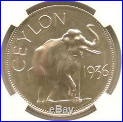 Ceylon 1936 Elephant Edward VII Crown NGC PF66 Silver Coin, Proof