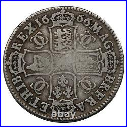 Charles II halfcrown 1666/4 Great Britain Elephant below bust silver coin