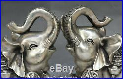 China FengShui Silver Wealth Auspicious Elephant Money Coin Statue Animal Pair