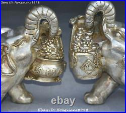 China Old Silver Wealth Auspicious Elephant Money Coin treasure bowl Statue Pair
