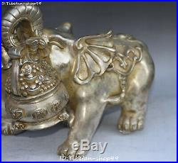 China Silver Wealth Auspicious Elephant Money Coin treasure bowl Statue Pair