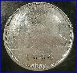 §§ Coin / Piece Congo Belge 50 Francs Elephant 1944 Argent §§